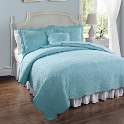 Pem America - French Tile Canal Blue Twin Quilt - - French tile is a classic solid color with detailed machine stitching and scalloped edges. This classic coordinate can be used in any room of the house and can go with a wide range of colors and styles   - 100% natural cotton  - Cleaning Care: Machine wash cold/gentle, do not bleach, tumble dry low. Pem America - PQW1492CBT-1113