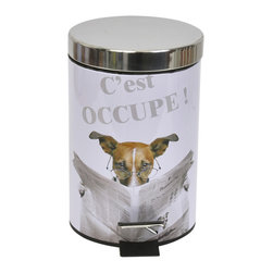 Photoprint Metal Step Trash Can 3-Liter/0.8-Gal Karamel White - This photoprint step trash can Karamel for bathrooms is metal. Add a fun and modern style to your bathroom or toilet with this design of a funny dog reading the newspaper. This round shaped trash can features a chic brushed stainless steel lid and a removable resin liner to make trash disposal a breeze. It's a tidy way to keep trash out of sight. Step action makes it easy to operate. This trash can is a lovely accent for any bathroom and its capacity is 3-Liter/0.8-Gal. Diameter of 6.69-Inch and height of 9.84-Inch. Wipe clean. Color white. Its almost too pretty to toss trash into! Complete your Karamel decoration with other products of the same collection. Imported.