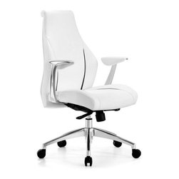 White Line Imports - Stanford Low Back Office Chair in White Leatherette with Black Stri... - This modern low back office chair with sporty look is covered in white leatherette with black stripe detail. Functional and comfy, the Stanford office chair synchronized mechanism with 5 positions locked, durable chrome aluminum base with castors for mobility, and adjustable height seat.