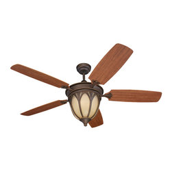 Montecarlo - Montecarlo Grand Isle Ceiling Fan in Roman Bronze - Montecarlo Grand Isle Model 5GIR54RBD in Roman Bronze with Teak Finished Blades. Grand Isle Light Kit with Tea Stain Mission Glass included.
