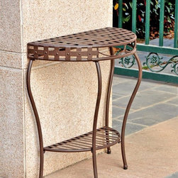 International Caravan - 3-Tier Half Moon Patio Table - Unique nail head design. Dual water resistant coating. UV light fading protection. Made from premium wrought iron. Dual powder coated brown matte finish. Assembly required. 28.5 in. W x 14 in. D x 30 in. H (13 lbs.)