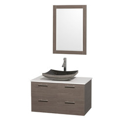 Wyndham - Amare 36in. Wall Vanity Set in Grey Oak w/ White Stone Top & Black Granite Sin - Modern clean lines and a truly elegant design aesthetic meet affordability in the Wyndham Collection Amare Vanity. Available with green glass or pure white man-made stone counters, and featuring soft close door hinges and drawer glides, you'll never hear a noisy door again! Meticulously finished with brushed Chrome hardware, the attention to detail on this elegant contemporary vanity is unrivalled.