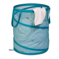 Large Mesh Pop Open Hamper, Ocean Blue - Honey-Can-Do HMP-02824 Breathable Large Mesh Pop-up Hamper, Ocean Blue.  Want a hamper with a big pop? Now you've got it. This large mesh hamper pops-up to open and easily compresses flat when not in use. Hook-style clasps keep the hamper compressed while in storage. The mesh material provides excellent ventilation allowing worn clothes to breathe and reducing unpleasant odors and mildew. Useful carrying handles make transporting clothes to the laundry room, Laundromat, or dry cleaner a breeze. Keep clothes off of the floor and your space neat and clean with this practical and fun hamper.