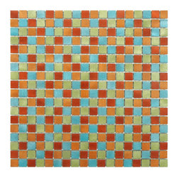 None - SomerTile Alumini 11.875x11.875 Mini Cirque Brushed Aluminum Mosaic Wall Tile (P - Add a pop of color with this light-weight aluminum Cirque mosaic. Featuring a mix of red, orange, green, and blue brushed aluminum tiles, this mosaic is sure to add interest to any space.