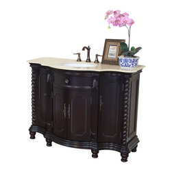 Bellaterra Home - 48 in Single sink vanity-wood-dark mahogany-creama marfil - Besides it's curved front and unique hand carved design on columns and doors,  this bathroom vanity has a rich traditional flavor that will not be disappointed. The cabinet is construction with solid birch wood and finished in rich dark mahogany finish. It is carefully finished in multiple layer of top coat to endure water proof surface to withstand humidity in bathroom. Top with genuine creama marfil marble. Birch + plywood
