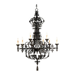 Kathy Kuo Home - Malaga Spanish Revival Industrial Black 9 Light Chandelier - A dramatically grand chandelier with an impressive size, the Melaga Chandelier features intricate ironwork reminiscent of early Spanish craftsmanship. The subtlety of a industrial black finish is the perfect complement to this incredible detailing of this wrought iron piece.