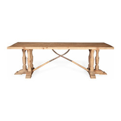 Kathy Kuo Home - Arbre French Country Reclaimed Pine Wood Trestle Dining Table - Reclaimed pine sets this table apart with simple style and French Country charm. Unexpected details in the base trestle sculpture call to mind Old World hunting lodges and adventurous expeditions. Pull up a chair or bench and settle in for a delicious dinner or an afternoon of cards and games.