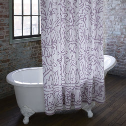 John Robshaw Lodhi Shower Curtain - Most people spend enough time in the bathroom to make it a space worth sprucing up a bit. This is a collection of our favorite block prints, blown up on sturdy cotton, and sure to perk up any bathroom.