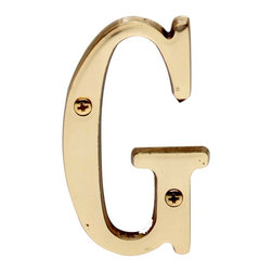 """Renovators Supply - House Numbers Bright Solid Brass 3"""" House Letter G - Made of solid brass, these polished die cast letters are made to withstand the elements. Our RSF protective finish process ensures they stay looking like new. Use them to update your home's exterior!"""