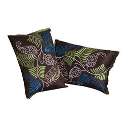 "Great Deal Furniture - 19"" Brown Ferns Pillows (Set of 2) - Add contemporary design to your seating areas with our decorative pillow sets. Featuring a linen blend cover, you'll find these pillows stylish and comfortable."