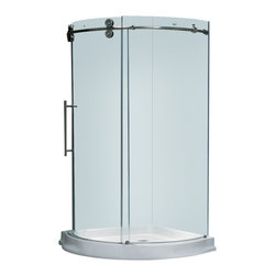 Vigo - 40 x 40 Frameless 5/16in.  Clear/Stainless Steel Shower Enclosure Left-Sided Doo - Make your bathroom an oasis with a Vigo frameless round shower enclosure.