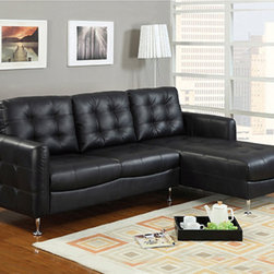 None - Amanda Black Bonded Leather Set - Give your living space a sleek look with this Bonded Leather sectional sofa. Featuring chrome feet and stunning black Bonded Leather upholstery. Enjoy for years to come.