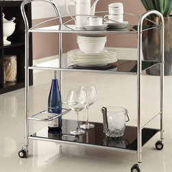 "Acme Furniture - Mack Serving Cart in Chrome and Tempered Black Glass - Mack Serving Cart in Chrome and Tempered Black Glass; Finish: Chrome & 5mm Temp. Black Glass; 4 Casters, 5mm Tempered Black Glass, Not Beveled; Materials: Metal, Glass, 4 Casters; Weight: 24.7 lbs; Dimensions: 27"" x 15"" x 32""H"