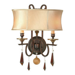 World Imports - World Imports WI7662 2 Light Wall Sconce from the Turin Collection - 2 Light Wall Sconce from the Turin CollectionHand-beveled glass is then copper foiled and softened with full framed, hand-made ivory silk shades. Each piece is masterfully executed.