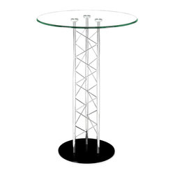 "ZUO MODERN - Chardonnay Bar Table Tempered Glass - Like an architectural tower, the Chardonnay table has a clear tempered glass top with a chromed steel tube center and a black solid steel base plate. The intricate diagonal ""lacing"" comes in both bar and dining heights."