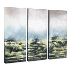 "Vertuu Design - 'Sea View V' Artwork - Hang this set of hand-painted ""Sea View V"" Artwork above a mantel or bed to create a dramatic focal point. The art's turbulent black ocean scene with yellow accents offsets its faded blue and white sky for a look that is simultaneously bold and subdued. Display the acrylic canvas pieces individually or side-by-side for a dynamic effect."