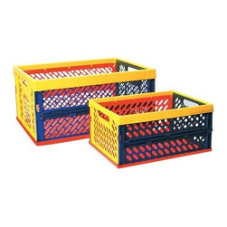 ECR4KIDS Collapsible Crates with Vented Sides-Multicolor - Set of 12 - The Collapsible Crates with Vented Sides - Multicolor lock open and will fold flat for storage. The crates will stack on top of one another while open or closed to save space. The ventilated sides provide easy identification of contents especially if the crates are stacked. Convenient built-in handles allow for easy carrying. These crates are perfect for storing craft items small toys or school supplies at home or school. Set of 12 crates choose small or large. About Early Childhood ResourcesEarly Childhood Resources is a wholesale manufacturer of early childhood and educational products. It is committed to developing and distributing only the highest-quality products ensuring that these products represent the maximum value in the marketplace. Combining its responsibility to the community and its desire to be environmentally conscious Early Childhood Resources has eliminated almost all of its cardboard waste by implementing commercial Cardboard Shredding equipment in its facilities. You can be assured of maximum value with Early Childhood Resources.