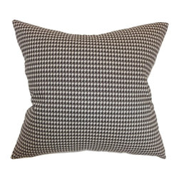 """The Pillow Collection - Lviv Houndstooth Pillow Chocolate Linen 20"""" x 20"""" - A houndstooth pattern lends dimension and style to this throw pillow. This bold accent pillow comes with a luscious chocolate brown and linen hues. This decor pillow coordinates well with solids, patterned and textured pillows. The houndstooth pattern featured in this 20"""" pillow comes in small sizes unlike the traditional big pattern. Toss this 100% plush cotton pillow on your seat, bed or sectionals. Hidden zipper closure for easy cover removal.  Knife edge finish on all four sides.  Reversible pillow with the same fabric on the back side.  Spot cleaning suggested."""
