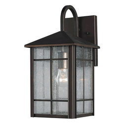 Forte Lighting - Forte Lighting 1062-01-14 Outdoor Wall Sconce in Royal Bronze with Clear Seedy G - Outdoor Wall Sconce in Royal Bronze with Clear Seedy Glass