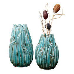 Uttermost - Uttermost Darniel Ceramic Vases, S/2 - Darniel Ceramic Vases, S/2 by Uttermost Ornate Ceramic Vases Feature A Distressed, Crackled Teal Blue Finish With Antique Khaki Undertones. Sizes: Sm-8x12x6, Lg-8x15x6