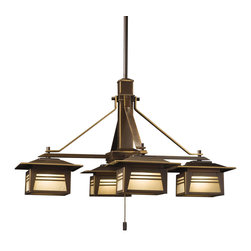 """Kichler 4-Light Landscape Fixture - Olde Bronze Exterior - Four Light Landscape Fixture This lighting outdoor chandelier from the Zen garden features four lights with mission styling and Asian influencing. The olde bronze finish accentuates the clean lines while the amber seedy linen glass panels soften the look of the fixture. Suitable for wet locations. Comes with extension stems, canopy assembly and 25` of #12-2 spt cable. Wiring is 42"""" of usable #16-2, spt-1-w leads."""