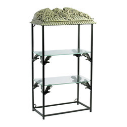 AA Importing - Display Unit w 2 Glass Shelves, Metal Frame & - Proudly display your most prized possessions on this handsome metal frame etagere.  The lovely botanical design is carried through from the decorative resin top with leaf overlays, to the ingenious shelf brackets that support the clipped-corner glass shelves.  Practical and sturdy, the metal finish frame features a handsome black finish that will blend with any decor.  Perfect for miniature collections and dainty items, this attractive shelf unit will showcase any  items in style. 2 Glass shelves. Decorative resin top. 11 in. L x 6 in. W x 21 in. H