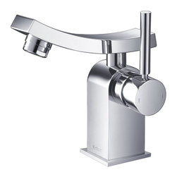 Kraus - Kraus Unicus Single Lever Basin Faucet Chrome - *One of a kind design, sleek lines in a bright polished chrome appearance brings an implied look to any bathroom decor