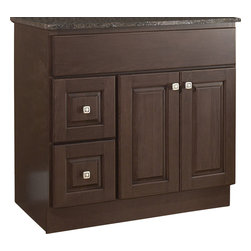 "JSI - JSI Hampton Bathroom Vanity Base 36"" Wood Frame 2-Door, Left Hand Drawers - PLEASE NOTE: Sale is for vanity cabinet only - Faucet, top, and sink are not included."