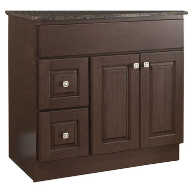 """JSI - JSI Hampton Bathroom Vanity Base 36"""" Wood Frame 2-Door, Left Hand Drawers - PLEASE NOTE: Sale is for vanity cabinet only - Faucet, top, and sink are not included."""
