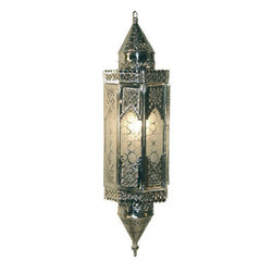 Middle Eastern Artisans - Silver Glass Lantern - Light up any space with a romantic Moroccan-style lantern. Silver-finished brass glistens from the light of a 60-watt bulb, and frosted glass keeps the glow soft and flattering. One of these would be perfect for an entryway, but a cluster of them would make a real statement.