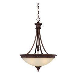Capital Lighting - Capital Lighting 3564BB Burnished Bronze 3 Light Pendant - Traditionally styled 3 Light Pendant with Mist Scavo glass