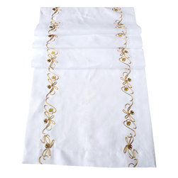 Anali - Silver Bells Runner - This crisp white, Italian linen runner, embroidered with a delicate trim of gold and silver bells, will add a festive touch to your holiday table. Just add some gold and silver candles and your elegant dinnerware, then pour the wine, start the music and let the evening sparkle.
