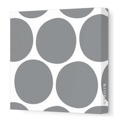 "Avalisa - Pattern - Big Dots Stretched Wall Art, 18"" x 18"", Gray -"