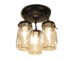 Vintage Mason Jar CEILING LIGHT Trio, Oil Rubbed Bronze - This handcrafted ceiling lamp lights a trio of clear, quart-size, vintage canning jars with all their own history and 'age' marks. Including the original wire-bales and showing off their trademark raised lettering.