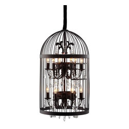 ZUO PURE - Canary Ceiling Lamp Rust - Inspired by a vintage birdcage, the Canary ceiling lamp juxtaposes rustic hand-wrought iron with a precision-cut faceted crystal lamp. Twelve 25w bulbs are included. The lamp is UL approved.