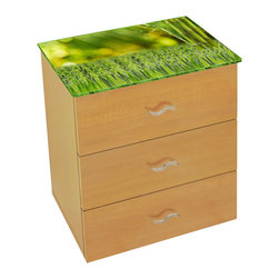 Ambiance Design - Modern Bedside Table with LED Lights and Bamboo Art - Complement your room decor with this illuminated side table. Ideal for bedroom or living room.