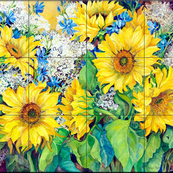 The Tile Mural Store (USA) - Tile Mural - Here Comes The Sun - Kitchen Backsplash Ideas - This beautiful artwork by Joanne Porter has been digitally reproduced for tiles and depicts a closeup of some sunflowers.  With our enormous selection of tile murals of plants and flowers you can bring your kitchen backsplash tile project to life. A decorative tile mural with plants and flowers is an impressive kitchen backsplash idea and decorative flower tiles also work great in the bathroom. Add splashes of color and life to your tile project with images of flowers on tiles and tiles with pictures of plants.