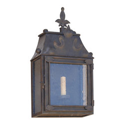 Custom Exterior Iron Lights - Classic and elegant design in this exterior hand forged half wall iron lantern with 1 lights. Clear seeded glass, powder coat base and an additional hand applied color finish for that Old World look are elements that are always included in our exterior pieces.