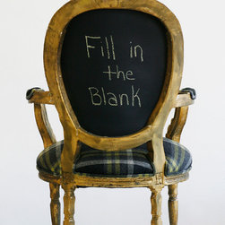 Chairs - The Vince Chair is a vintage chair that has been completely upholstered using old world techniques such as 8 way -hand-tied coil springs, horsehair, and cotton. The back is painted with chalkboard paint and is erasable. Photo by Wild Chairy