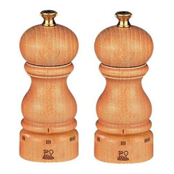 "Peugeot - Peugeot Paris u'Select 5"" Natural Salt and Pepper Mill Set - The high quality beech wood used in Peugeot mills is grown, harvested, dried, shaped and finished in France. This Peugeot Paris Salt and Pepper Mill Set has a beautiful natural varnished finish. For Paris u'Select mills, the grind is adjusted by turning the ring at the bottom of the mill. Turning the ring in one direction makes the grind finer, turning in the other makes it coarser. Once the grind size is set, it will stay in place until the user changes it."