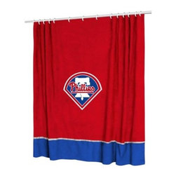 Sports Coverage - MLB Philadelphia Phillies Sidelines Shower Curtain - Spruce up your Bathroom and show your MLB spirit with this Philadelphia Phillies Sidelines Shower Curtain from Sports Coverage! Featuring 100% Polyester Jersey with screenprinted logo. It measures 72 x 72.