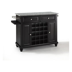Crosley Furniture - Crosley Furniture Cambridge Solid Granite Top Wine Island in Black - Wine lovers will entertain in style with Crosley's Kitchen Wine Cart.  Whether you're a connoisseur of fine wines or simply a casual fan, Crosley's Kitchen Wine Cart offers the utmost in entertaining convenience.  The cabinet features a 20-bottle wine rack and side-mounted 3-bottle wine valet and the top provides ample surface space for presentation of your wine and cheese alike. Raised panel doors conceal the adjustable inner shelving and two sliding drawers provide several options for storage. Wine cabinets come in one of four signature Crosley finishes featuring one of four surfaces - including wood, stainless steel or solid granite.