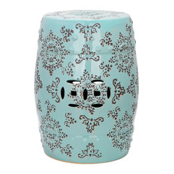 Safavieh - Medallion Garden Stool ACS4512A - Adorned with lacey Asian motifs adapted from silk brocade fabrics, the Medallion Garden Stool adds international flare to indoor and outdoor spaces. With gray patterning on light blue glazed ceramic, this versatile piece can be used in pairs in front of a bed, as extra seating or as a handy side table.