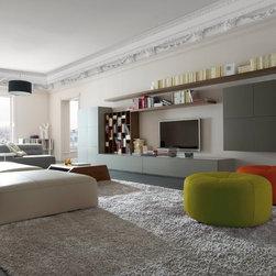 Book & Look - Ligne Roset - Book and Look wall system, Dimensions floor lamp, Malhoun sofa.