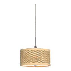 "ET2 Lighting - Elements 1-Light Mini Pendant - This attractive pendant light features a texture-rich circular shade, hanging securely by a super-thin cable — a look sure to be admired. You'll start to think the phrase, ""hanging by a thread"" may actually be a good thing."
