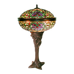 Warehouse of Tiffany - Tiffany-style Barquare Domed Table Lamp - Pieces of stained glass are pieced together to form this handcrafted Tiffany-style table lamp. Details like jeweled accents and a curved base make this Barquare lamp such a treasure. The intricate piece beautifully complements a traditional-style room.