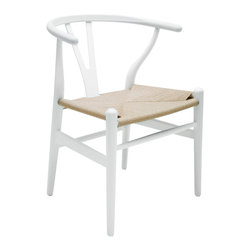 Kathy Kuo Home - Jace Ming Modern Global Bazaar Rattan White Dining Arm Chair - Like outstretched arms, the open, curved back of this modern, hard wood dining chair is warm and welcoming. The graceful white frame holds a woven rattan seat that adds casual comfort to the arm chair. With an eclectic, round shape, the chair adds a Global Bazaar accent to your dining or living room.