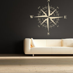 Compass Rose Vinyl Wall Decal by Empire City Studios - This large wall decal will bring a graphic punch to a nautical theme.