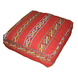 Kenza - Moroccan Killim Pouf / Floor Pillow - Moroccan Large Floor Pillow  made  using a  Killim Rug all hand -woven in 100% wool.