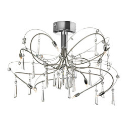Dainolite - Dainolite 10LT Crystal Semi Flush Fixture - 10 Light Crystal Semi Flush Fixture, Polished and Satin Chrome Finish, Low Voltage